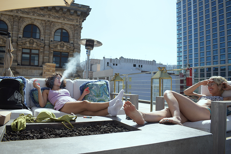 Lydia, left and Marissa on a Los Angeles rooftop.
